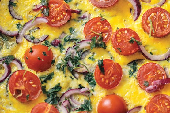 Omelette recipes . Tomato, Onion, And Herb Omelet
