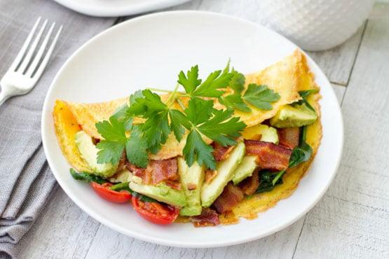 Omelette recipes . Avocado BLT Omelet