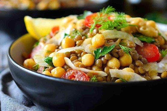 Recipes with lentils . Bean and Lentil Salad Recipe