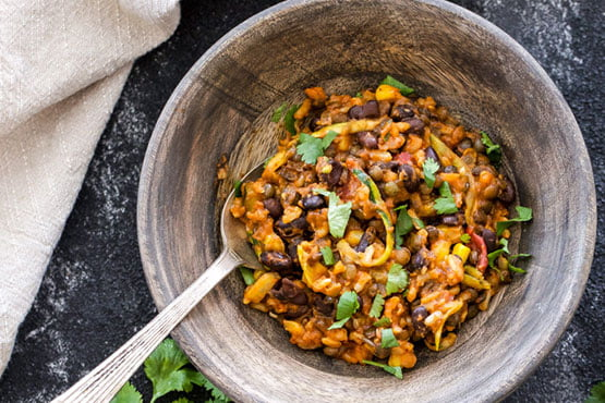 Recipes with lentils . ONE POT CHEESY MEXICAN LENTILS, BLACK BEANS AND RICE
