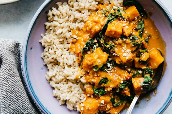 Recipes with butternut squash . Vegan Butternut Squash Curry with Spinach