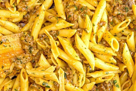 Recipes with ground beef . Cheesy ground beef pasta skillet