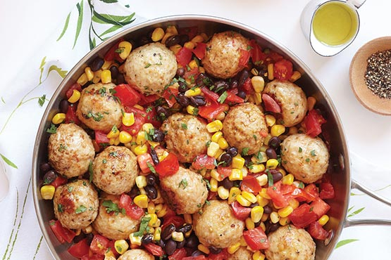 Recipes with meatballs . Southwest Meatball Skillet