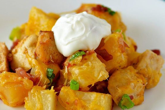 Recipes with potatoes and chicken . Loaded Chicken and Potato Casserole