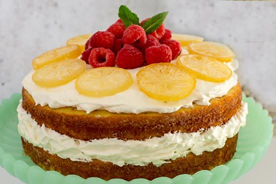 Recipes with whipping cream . Coconut Cake with Whipped Lemon Cream