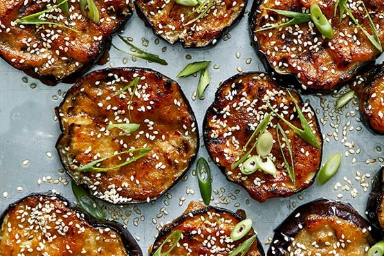 Easy recipes with eggplant . Roasted Eggplant With Miso and Sesame Seeds