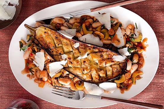 Easy recipes with eggplant . Roasted Eggplants with Sicilian-Style Cannellini Beans