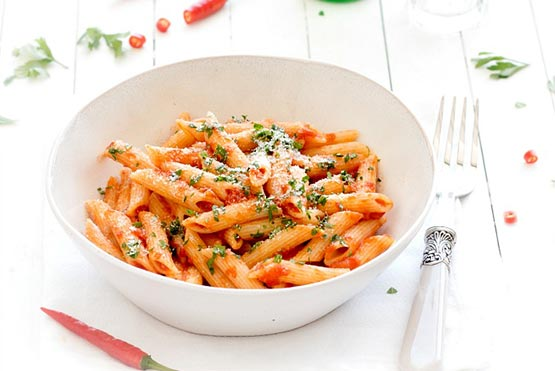 Easy recipes with pasta . Penne all'Arrabbiata