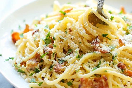 Easy recipes with pasta . Spaghetti carbonara