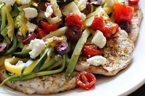 Easy recipes with pork chops . Mediterranean Boneless Pork Chops with Julienned Vegetables