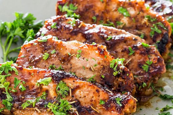 Easy recipes with pork chops . Mustard Balsamic Pork Chops with Rosemary