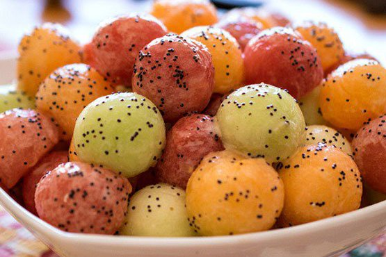 Recipes with melon . Melon Balls with Poppy Seed Dressing