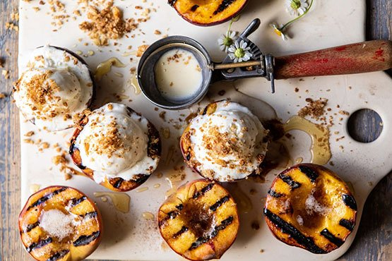 "Recipes with peach . browned butter grilled peaches with cinnamon ""toast"" brioche crumbs."