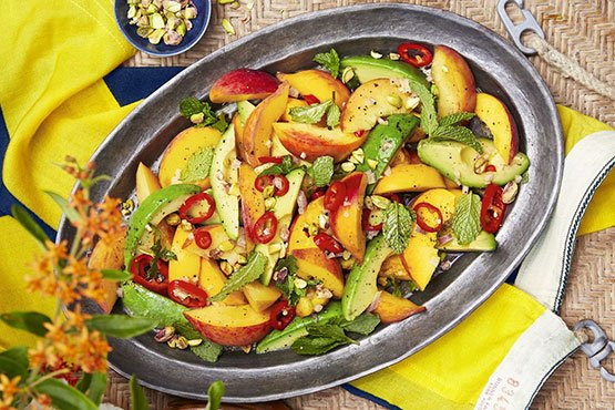 Recipes with peach . Spicy Peach and Avocado Salad
