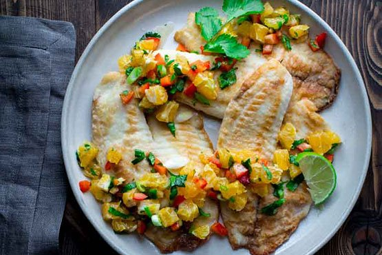 Recipes with Tangerine . Tilapia with tangerine salsa