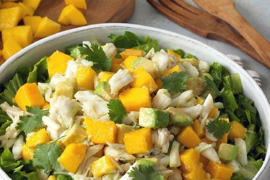 Recipes with mango . Ayesha Curry's Mango Crab Avocado Salad with Lemon Vinaigrette