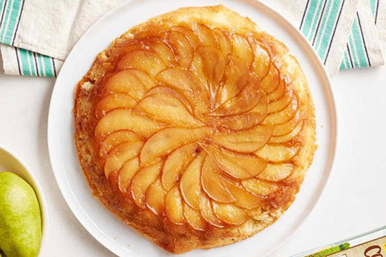 Best pear cake recipes . Upside-Down Pear Skillet Cake