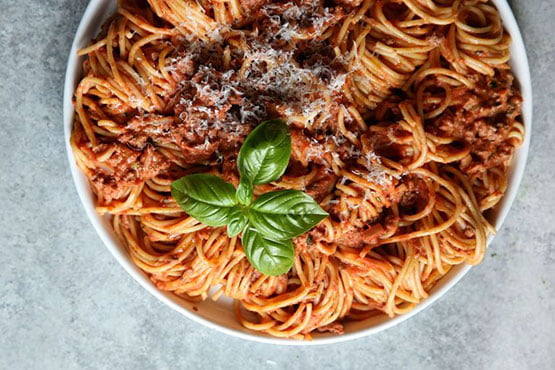 Comfort food recipes . Spaghetti with Creamy Meat Sauce