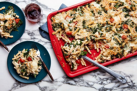 Baked pasta recipes . Sheet-Pan Pasta Bake with Chicken and Kale