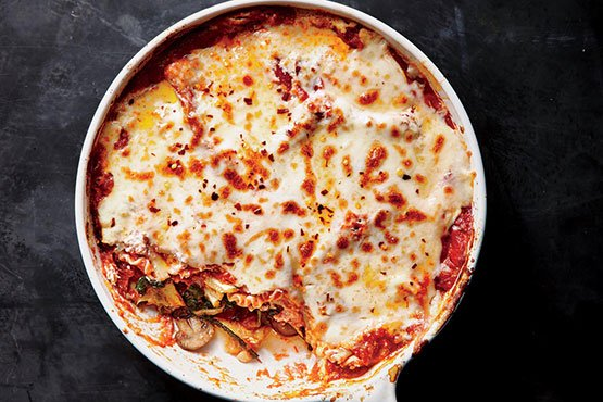 Baked pasta recipes . One-Skillet Vegetable Lasagna