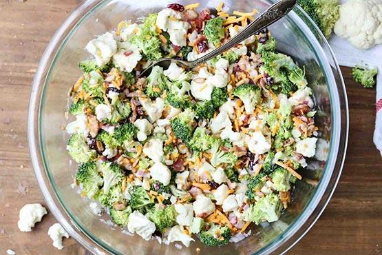 Broccoli salad recipes . Cauliflower Broccoli Salad Recipe