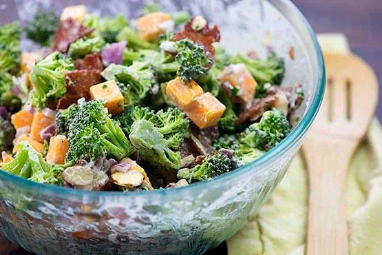 Broccoli salad recipes . Broccoli Salad with Bacon