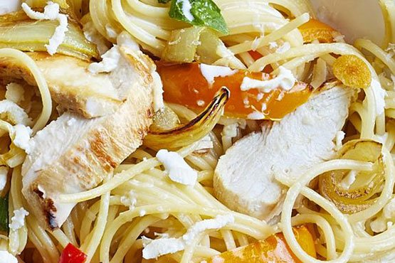Easy chicken dinner ideas . Spaghetti with Roasted Chicken and Peppers