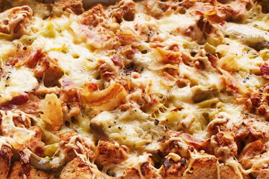 Easy recipes with bread . Leek and Artichoke Bread Pudding