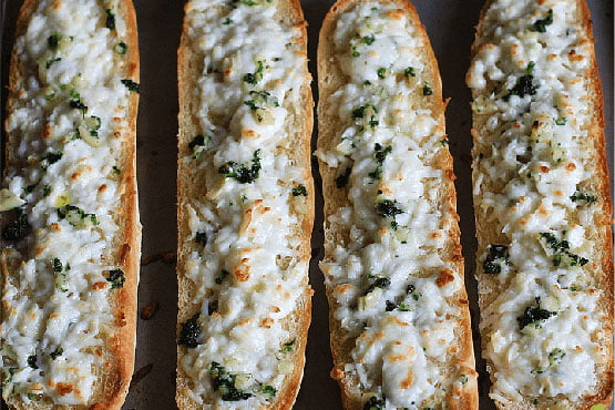 Easy recipes with bread . Cheesy Garlic Bread with Real California Cheese Queso Blanco