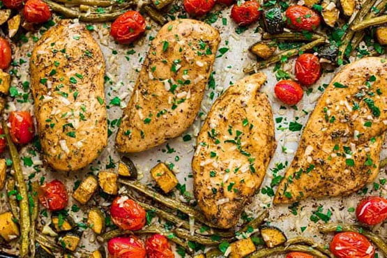 Healthy dinner ideas with chicken . Sheet Pan Italian Chicken and Vegetables