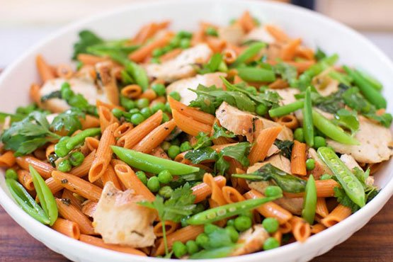 Healthy dinner ideas with chicken . Lemon Herb Chicken Pasta with Green Peas, Snap Peas and Spinach