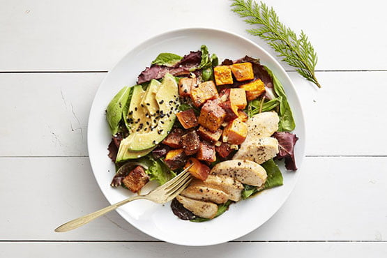 Healthy dinner ideas with chicken . Roasted Sweet Potato and Chicken Salad