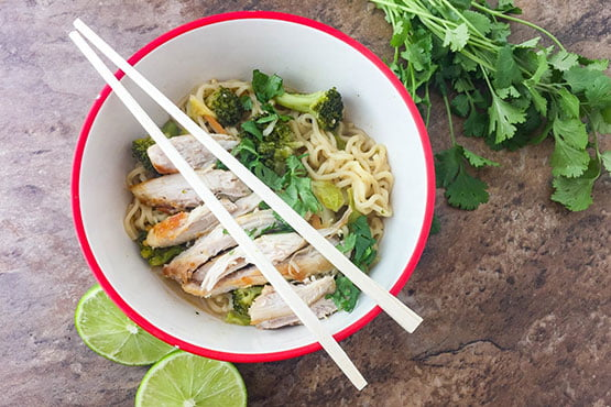Healthy recipes with peanut butter . Thai Chicken Ramen Bowl