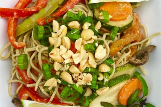 Healthy recipes with peanut butter . Vegetable Peanut Noodles