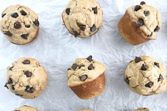 Healthy recipes with peanut butter . Peanut Butter Banana Chocolate Chip Muffins