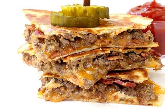 Recipes with hamburger meat and bacon . Bacon Cheeseburger Quesadillas