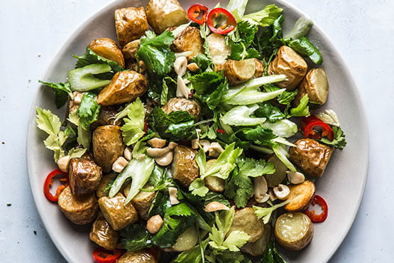 Recipes with peanut . Crispy Potato Salad with Chiles, Celery, and Peanuts