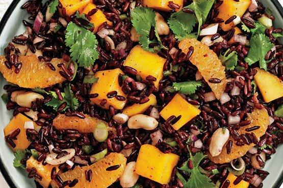 Recipes with peanut . Black Rice Salad with Mango and Peanuts
