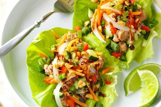 Recipes with peanut . Vietnamese Pork Lettuce Wraps