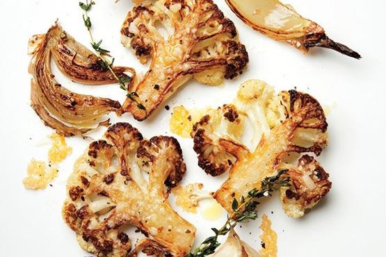 Roasted cauliflower recipes . Parmesan-Roasted Cauliflower