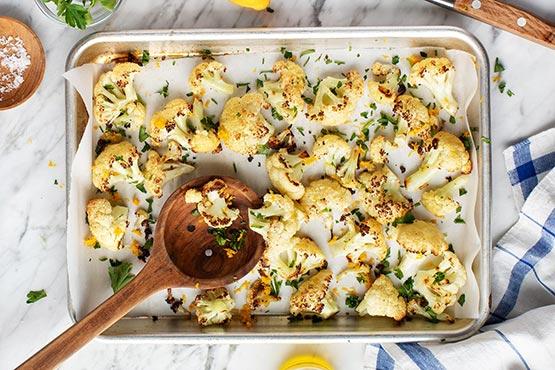 Roasted cauliflower recipes . Roasted Cauliflower with Lemon Zest