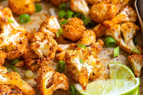 Roasted cauliflower recipes . Chili Lime Roasted Cauliflower
