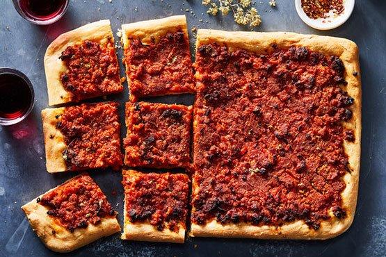 Sicilian pizza recipes . Fabrizia Lanza's Sicilian Pizza (Sfincione)