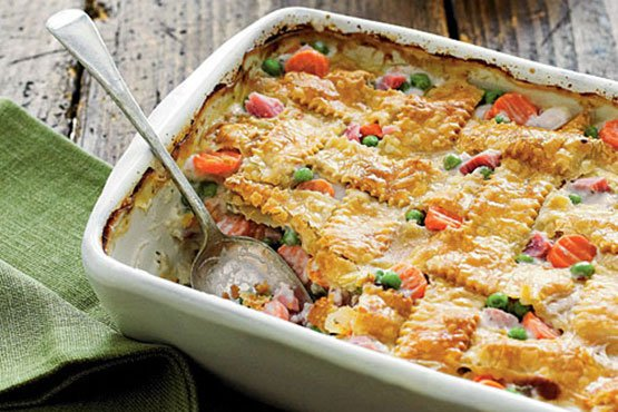 Ham-and-Vegetable Cobbler Easy casserole recipes