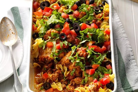 Easy recipes with noodles . Taco Noodle Dish