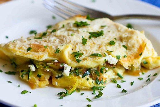 Zucchini Onion and Feta Cheese Omelet