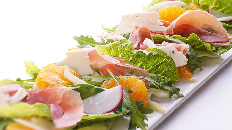 Cos Salad with Radishes, Fennel, Parma Ham, and Grapefruit
