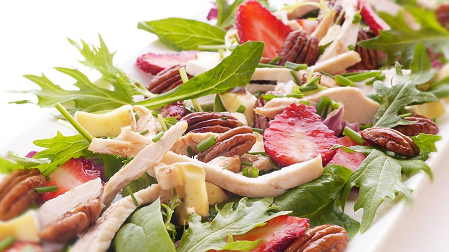 Mesclun Salad with Strawberries, Brie and Maple Pecans Recipe