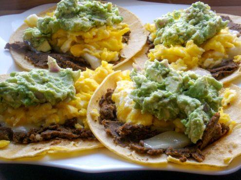 Scrambled Eggs and Black Bean Soft Taco