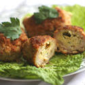 Ground chicken chops stuffed with cheese and herbs